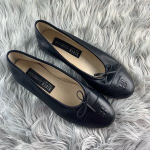 Bloch Black Leather Embossed Bow Ballet Flats